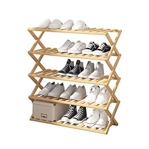 Librero Gabinete económico del Zapato del Zapato del hogar de múltiples Capas Simple de bambú del Estante del Zapato Plegable sin instalación Estante para Libros (Size : L)