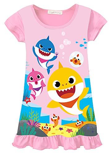 AOVCLKID Toddler Girls Baby Princess Pajamas Shark Cartoon Print Nightgown Dress (Pink 2120/4-5Y)