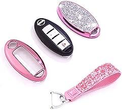 Royalfox(TM) 3 4 5 6 Buttons 3D Bling keyless Entry Remote Smart Key Fob case Cover for Nissan Murano Pathfinder Titan Maxima Sylphy Lannia Livina NV200 Tiida Teana Qashqai Sunny (Pink)