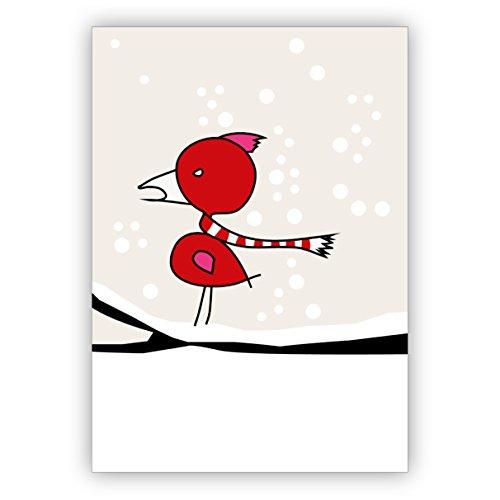 5 stuks kerstkaarten set: Grappige winter kerstkaart met vogel in rood wit gestreepte sjaal - zowel mooi als zakelijk kerstgroet als privé-kerstpost