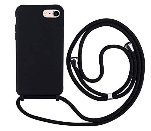 MEVIS Coque Compatible avec iPhone 6/6S/7/8 Plus,Collier pour Étui Colliers de cellulaire Mince Antichoc Réglable Lanyard Case-Noir