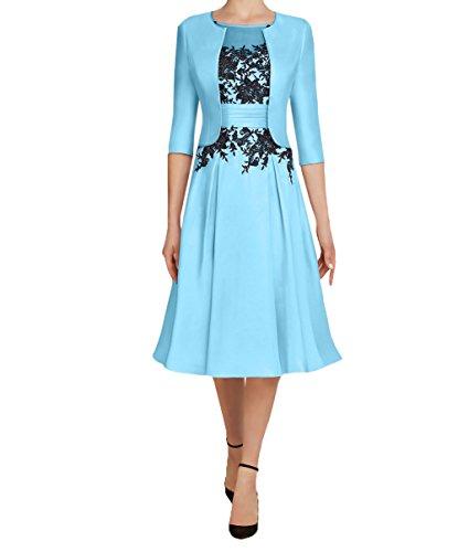 Charmant Damen 2020 Neu Knielang Kurzes Brautmutterkleider Abendkleider Partykleider mit 3/4 Langarm Bolero Festlichkleider-44 Hell Blau