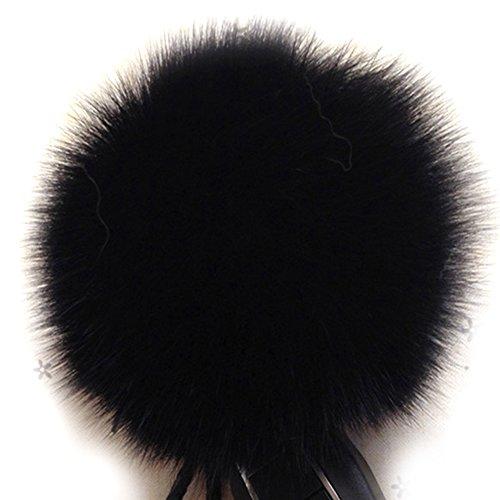 Dikoaina Faux Fox Fur Pom Pom Keychain Bag Purse Charm Gold Ring Fluffy Fur Ball, Black, One Size