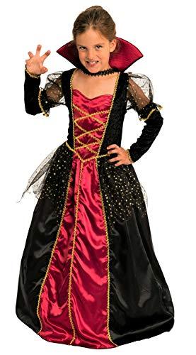 Magicoo Elegante Vampirin - Vampir Kostüm Kinder Mädchen rot-schwarz-Gold - Halloween Vampirkostüm Kind Gr. 110 bis 140 (134/140)