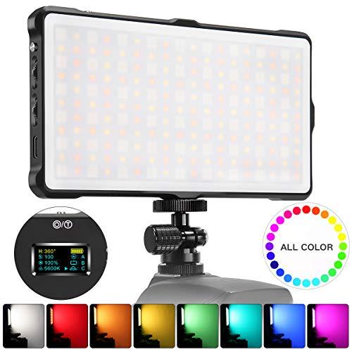 Pixel RGB LED Video Light On-Camera Video Light for DSLR Camera Camcorder with Built-in 4040 mAh Rechargeable Battery 0-360 Full Color Mini Pocket Size 3200-5600k Bi-Color CRI/TLCI 97+