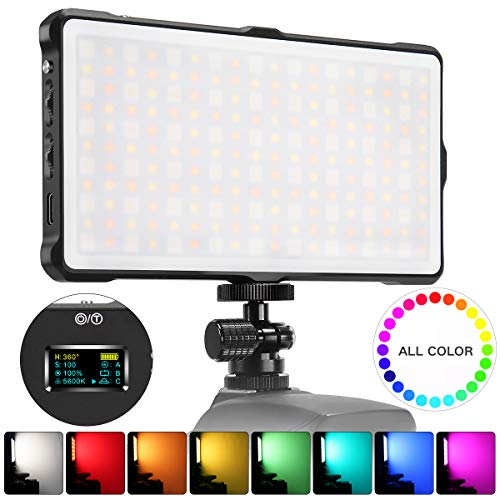 Pixel RGB LED Video Light On-Camera Video Light for DSLR Camera Camcorder with Built-in 4040 mAh Rechargeable Battery 0-360 Full Color Mini Pocket Size 3200-5600k Bi-Color CRI/TLCI 97+