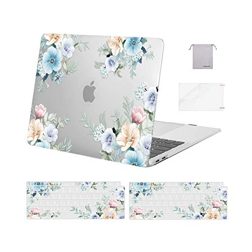 MOSISO MacBook Air 13 inch Case 2020 2019 2018 A2337 M1 A2179 A1932, Plastic Trumpet Creeper Hard Shell & Keyboard Cover&Screen Protector&Storage Bag Compatible with MacBook Air 13 Retina, Transparent