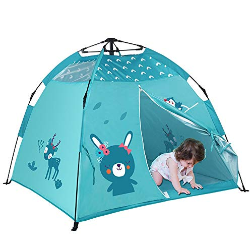Vobajf Tienda de campaña para niños y niños, portátil, tienda de juegos para niños, tienda de campaña para juegos de interior (color: azul, tamaño: 120 x 120 x 108 cm)