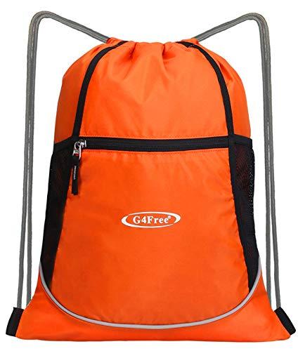 G4Free Foldable Drawstring Backpack Cinch Bag Gym Bag Water Bottle Mesh Pockets (Upgraded Black)