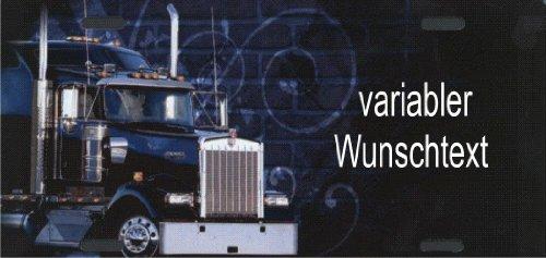 Nummernschild US-Truck Kenworth selbst Gestalten und Bedrucken Witterungsbeständig Farbecht Ideale Geschenkidee | Metallschild, Aluminium-Schild als individuelles Trucker-Accessoire | LKW-Zubehör selbst gestalten | Aluschild, Kennzeichen-Schilder mit Namen & Wunschtext