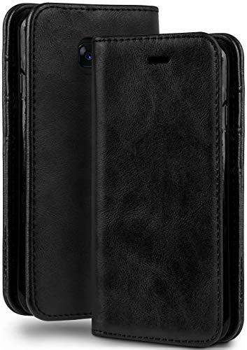 moex Booklet in Lederoptik - Kartenfächer und Aufstellfunktion passgenau für Samsung Galaxy A5 (2017) | Eleganter 360 Grad Vollschutz, Schwarz