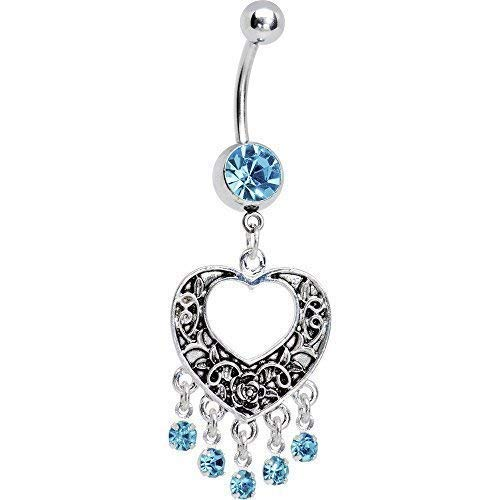 BodyCandy Brilliant Blue Hollow Heart Chandelier Stainless Steel Navel...