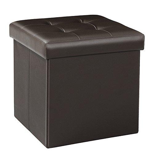 Bonlife Baúl Piel Sintetica Cajas Almacenaje Muebles de Salon Mesillas Noche Grande Banco Plegable Juguetes Mantitas para Sofa Marrón32x32x32cm