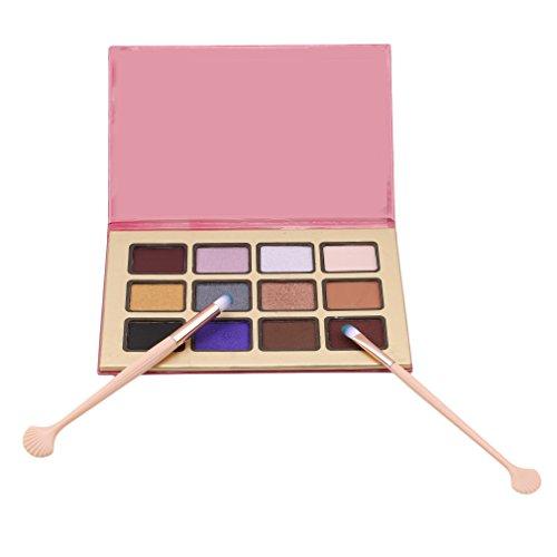 Mvude Pinceau de Maquillage Set 20 pièces Shell Forme poignée Visage Ombre à paupières Eyeliner Foundation Blush Lip pinceaux de Maquillage,Kaki BK-FMJ