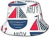 BONRI Sombreros de Cubo Transpirables Superiores Planos Unisex Veleros náuticos Rueda Timón Sombrero de Cubo Sombrero de Pescador de Verano