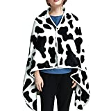 Wearable Blanket Flannel Shawl Blanket with Cow Print Soft Poncho Blanket Throw Capes Wraps with Button Ideal Gift for Women Adults - 40 x 60 inches