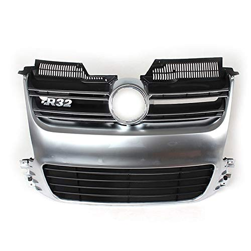 Kühlergrill Silber ABS Front Grille Grill R32 MK5 / Fit for Golf 5 / Fit for Volkswagen/Fit for Golf 5 Mk 5 2005~2009 R32 Auto (Color : Black)