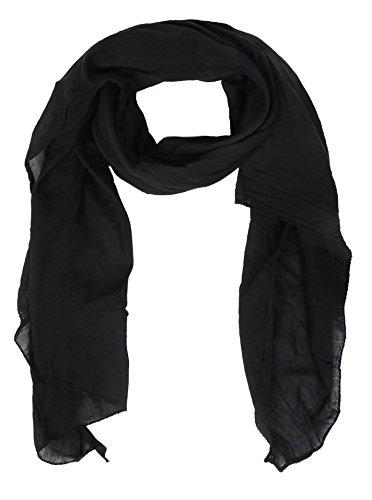 Cashmere Dreams Seiden-Tuch im Uni Design - Hochwertiger Schal für Damen Mädchen - Halstuch - Umschlagstuch - Loop - weicher Schlauchschal für Sommer Herbst und Winter Zwillingsherz - schwarz