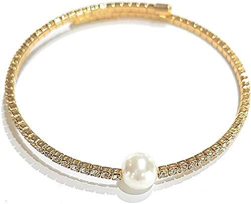 Pulsera Kiara rígida con perla sintética dorada Kbrd1437g