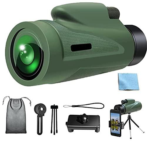 YsaAsaa Telescopio monocular 12 x 50 HD monocular telescopio, resistente al agua, con soporte para teléfono móvil, para observación de aves, camping, juegos de pelota, conciertos.