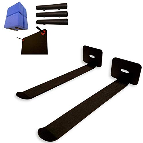 IRON AMERICAN Omega Multi Purpose Yoga & Exercise Mat Storage Rack/Hangers - Heavy Duty USA Steel Hangs 8+ Gym Mats Blocks Foam Rollers and Accessories, Mats Not Included, Mounting Hardware Included