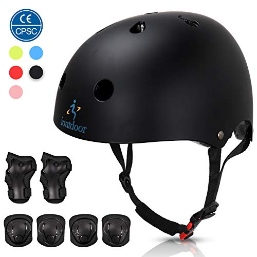 Bike Helmet Adjustable for Toddler Boys Girls Youth Adults, CPSC Kids Helmet and Protective Gear Set for Kids 3-8, Cycling Skating Scooter Helmet(Black with Protective Gear, S:48-54cm/18.9''-21.2'')