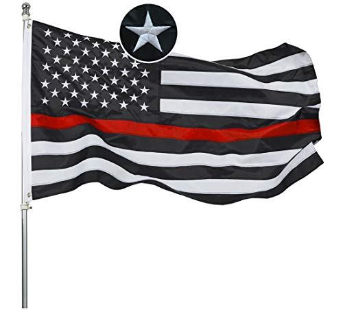Embroidered Thin Red Line Firefighter Flag 3x5 Ft- Black White Red Stripes American Red Lives Matter Honoring Firefighter Flags Banner Durable Polyester with 2 Grommets