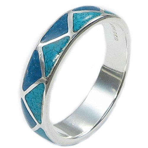 Indianerschmuck Ring aus Sterling Silber - Indianer Hochzeitsring,Türkis/Lapislazuli-8: Durchmesser 18,15 mm, Umfang 57,00 mm