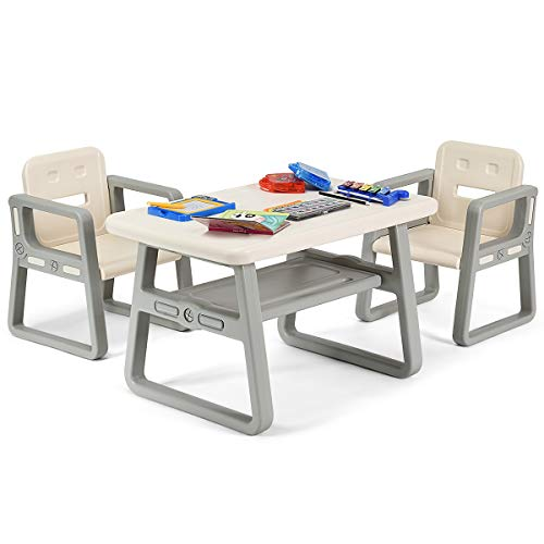 Costzon Kids Table and 2 Chair Set, Children Table Furniture with Storage Rack for Toddlers Reading, Learning, Dining, Playroom, Desk Chair for 1 to 3 Years, Activity Table Desk Sets (White)