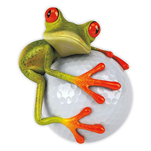 younikat Sticker Frosch Golfball I 14 x 16,5 cm groß I Fahrzeug-Aufkleber wetterfest Auto-Aufkleber Motorrad Laptop für Golfer Golf-Spieler I kfz_379