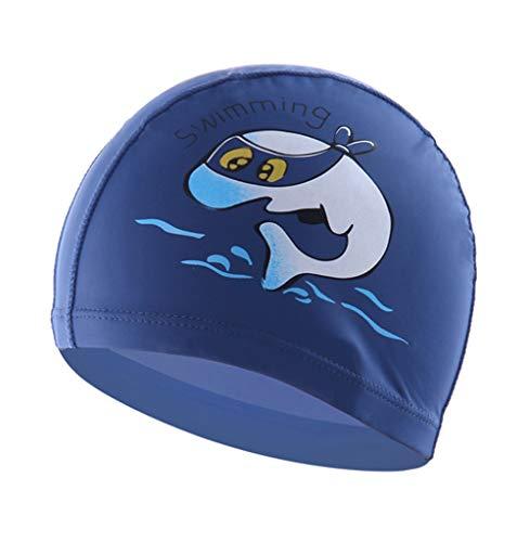 Boomly Baby Kinder Karikatur Schwimmkappe PU Wasserdicht Schwimmhaube Ohrschutz Bademütze Badehaube Für Strand, Schwimmbad 3-10 Jahre alte Kinder (Dunkel Blau, 23 * 15CM)