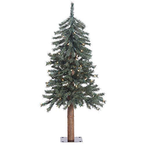 Vickerman 3' Natural Bark Alpine Artificial Christmas Tree, Clear Dura-lit Lights, Faux Christmas Tree, Seasonal Indoor Home Decor