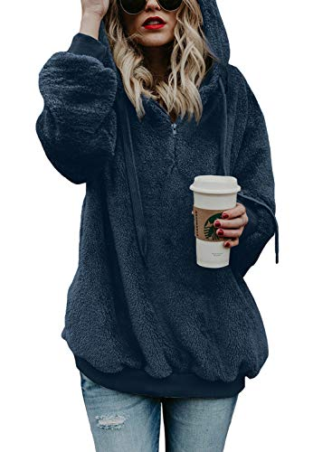 Aleumdr Womens Lightweight Hoodie Sweatshirt Cozy Warm Fuzzy Fleece Outwear Solid Soft Pullover Hooded Coat with Pockets Blue XX-Large 18 20