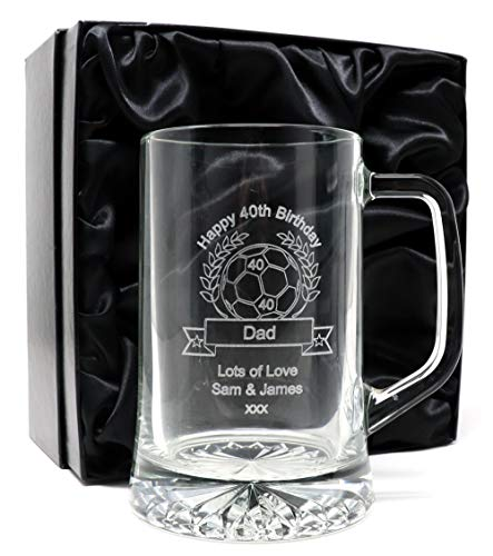 Engraved/Personalised *Football Design* Pint Glass Tankard (Silk Lined Gift Box)
