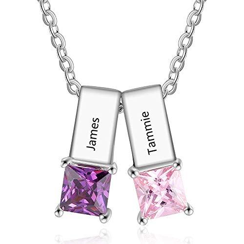 OPALSTOCK Personalisierte Namen Halskette MutterTochter Halskette für Frauen mit simulierten Geburtssteinen (2 Name)