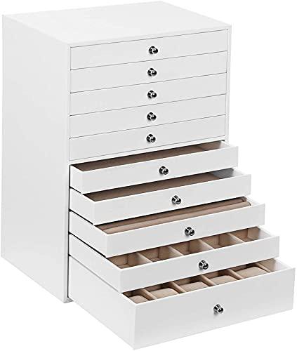 ZXC Caja de joyería extragrande de 10 capas, organizador de piel sintética, con cajón, gran capacidad, ligero y lujoso armario de almacenamiento