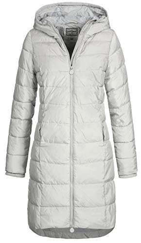 Eight2Nine Damen Steppmantel LETN-039 Lange Stepp-Jacke mit Kapuze Quiet Grey M