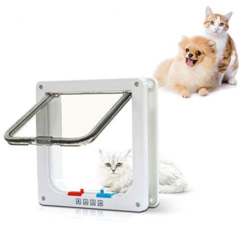 PetsN'all Puerta para Mascotas con 4 Cerraduras Diferente Para Gatos y Perros Pequeños – Para Adentro/Afuera con Marco Blanco (7.9 x 2.2 x 7.6) inches (HR3200) (HR3200)