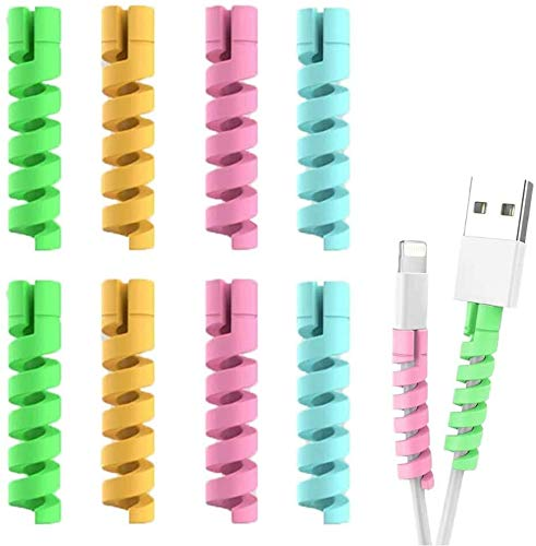 CocoRio Spiral Charger Cable Protector Data Cable Saver Charging Cord Protective for iPhone Samsung Mackbook Universal Earphone Cable Cover Set of 2 (8 Pieces)
