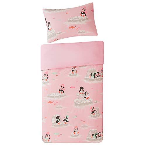 SCM Baby Bettwäsche 100x135cm Rosa 100% Baumwolle 2-teilig Deckenbezug mit Fröhliche Pinguine Kopfkissenbezug 40x60cm Renforcé Mädchen Jungs Baby Bettset Playing Penguins