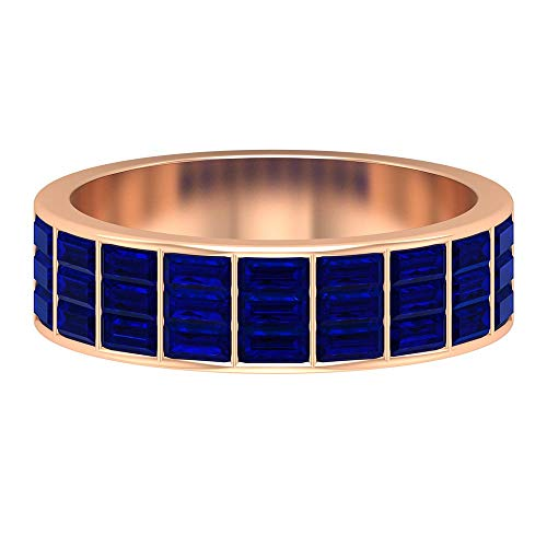 September Birthstone Ring, 1.9 CT Blue Sapphire Ring, Baguette Cut Gemstone Ring, Antique Eternity Ring, Unique Anniversary Ring, Statement Ring, 14K Rose Gold, Size:UK I