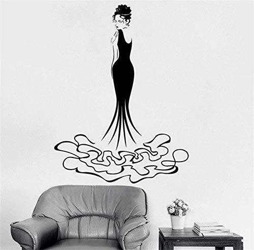 Neues kreatives Design Vinyl Wandtattoo Hübsches Mädchen Harmonische Mode Abendkleid Beauty Shop Dekor Home Wandaufkleber Heiß 56 * 80cm