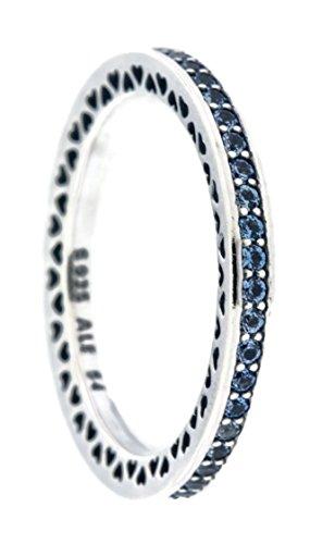 Pandora Radiante Corazones Anillo, Aire Azul Esmalte sintético y Cielo Azul Spinel 191011sss