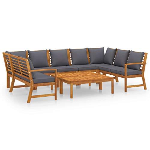 vidaXL Madera Maciza de Acacia Muebles de Jardín 9 Piezas Cojines Mobiliario Exterior Hogar Cocina Terraza Silla Mesa Asiento Suave Respaldo Crema