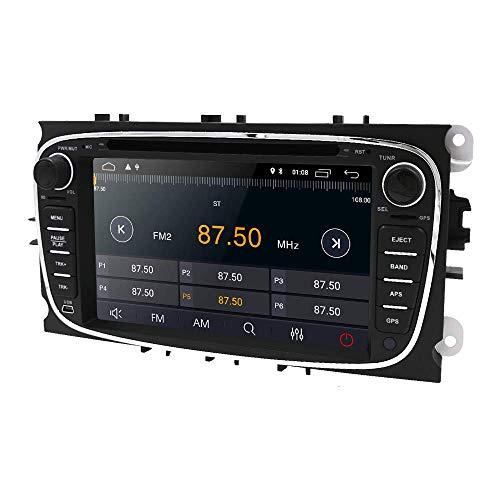 LYHY Car Navigator Android 10 OS Navegación GPS para automóvil Receptor de Audio para automóvil con Ajuste para Ford Mondeo/Focus/S-MAX/C-MAX/Galaxy/Kuga/Transit Connect Soporte Mirror-Link Bl