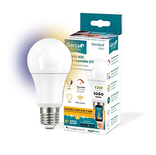 Garza ® Smarthome - Bombilla LED Estandar Intelegente Wifi E27, luz blanca neutra regulable con cambio de intensidad y temperatura. Programable, compatible con Amazon Alexa y Google Home.