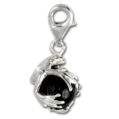 Plata de ley 925 SilberDream Charm rana bola negro colgante para pulsera cadena pendientes FC244S