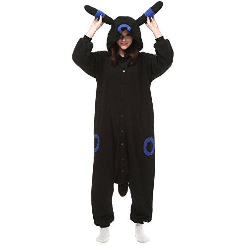 Blau Gelb Umbreon Mondlicht Pokemon Charmander Pikachu onesiee Kigurumi Pyjama Karneval Kostüm Maskenkostüm Kapuzenpulli Schlafanzüge Blau Umbreon, XL(Height 180cm-190cm)