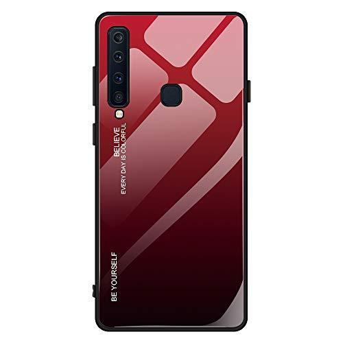 Kompatibel mit Samsung Galaxy A9 2018 Hülle,9H Gehärtetes Glas +Silikon Bumper Frame Ultra dünn Spiegel Handyhülle Farbverlauf Back Cover Clear Mirror Hülle Kratzfest Tasche Schale (Galaxy A9 2018, 5)