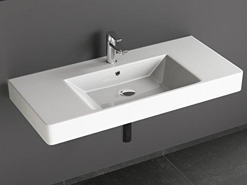 Aqua Bagno Design Waschbecken aus Keramik Waschtisch Hängewaschbecken KP.90 | 90 x 45 cm